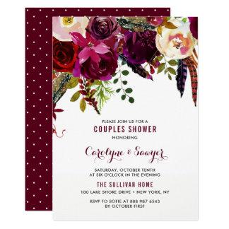 Watercolor Boho Floral Autumn Couples Shower Card