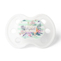 Watercolor Boho floral, leaves, stripes hand paint Pacifier