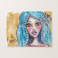 Watercolor Boho Girl Whimsical Art Fun Cute Modern Jigsaw Puzzle
