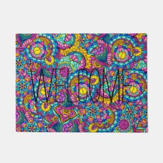 Watercolor boho hand drawn mandala floral doormat