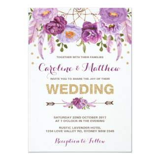 Purple Bohemian Wedding Invitations