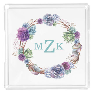 Watercolor Boho Succulent Wreath Monogrammed Tray