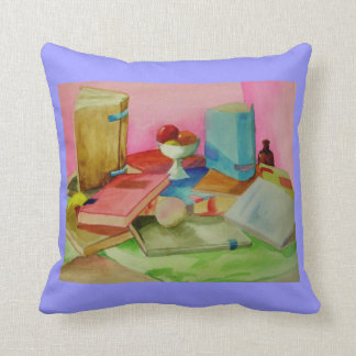 Watercolor Books Throw Pillow