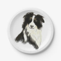 Watercolor Border Collie dog Pet Animal Paper Plate