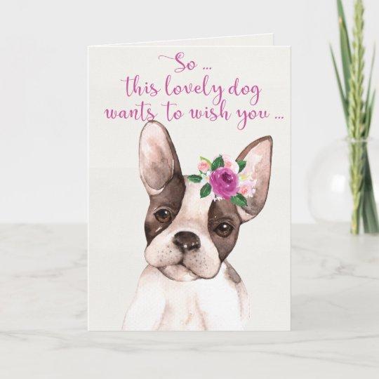 Watercolor Boston Terrier Dog Happy Birthday Card
