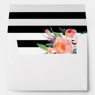 Watercolor Botanical Floral Black White Stripes Envelope