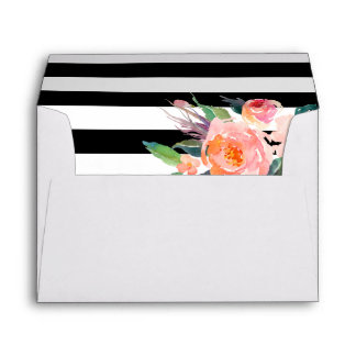 Watercolor Botanical Floral Black White Stripes Envelope