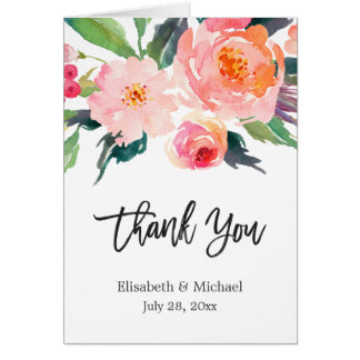 Watercolor Botanical Floral Calligraphy Thank You Card