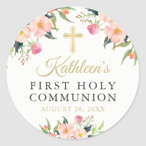 Watercolor Botanical Floral First Holy Communion Classic Round Sticker