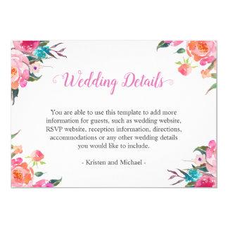 Watercolor Botanical Floral Wedding Details Info Invitation