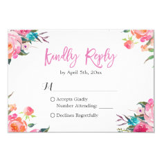 Watercolor Botanical Floral Wedding Rsvp Response Card at Zazzle