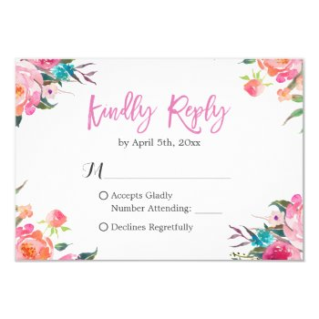 Watercolor Botanical Floral Wedding Rsvp Response Card by CardHunter at Zazzle