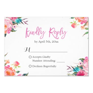 CardHunter Watercolor Botanical Floral Wedding RSVP Response Card