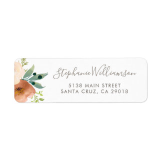Watercolor Botanical Flowers Garden Wedding Label