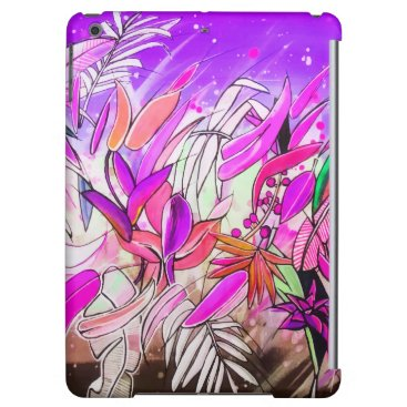 Watercolor Botanical Leaves Blush Rose Purple Case For iPad Air