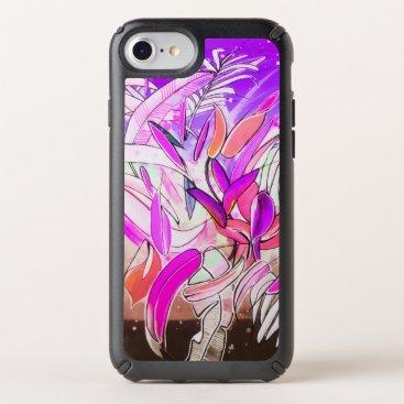 Watercolor Botanical Leaves Blush Rose Purple Speck iPhone Case