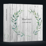 """Watercolor botanical olive leaves on wood personal 3 ring binder<br><div class=""""desc"""">Watercolor botanical olive leaves,  wreath on driftwood background,  personalized binder. You can use it for photos,  holiday photos,  wedding photos,  recipes or whatever you like.</div>"""