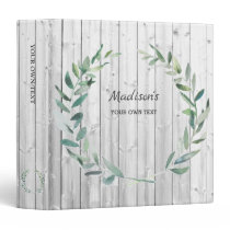 Watercolor botanical olive leaves on wood personal 3 ring binder