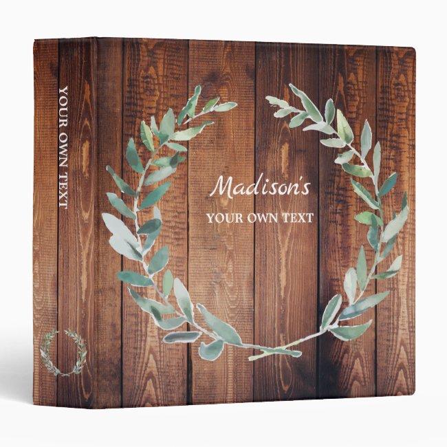 Watercolor botanical olive leaves personal wood 3 ring binder