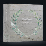 """Watercolor botanical olive wreath leaves personal binder<br><div class=""""desc"""">Watercolor botanical olive leaves,  wreath on wood background,  personalized binder. You can use it for photos,  holiday photos,  wedding photos,  recipes or whatever you like.</div>"""