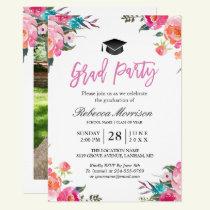 Watercolor Botanical Pink Floral Graduation Party Card