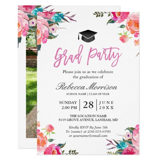 Watercolor Botanical Pink Fl Graduation Party Invitation Zazzle