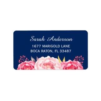 Watercolor Botanical Pink Flowers Navy Blue Label