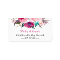 Watercolor Botanical Purple Red Pink Flowers Label