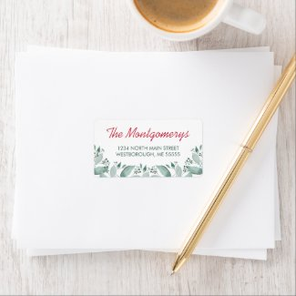 Watercolor Botanical Sage Leaves Return Address Label
