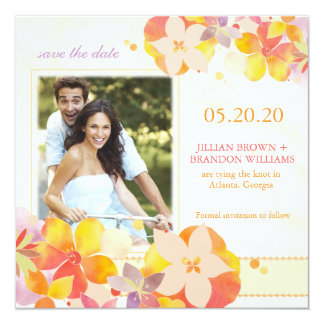 Watercolor Botanical Wedding Photo Save the Date Card