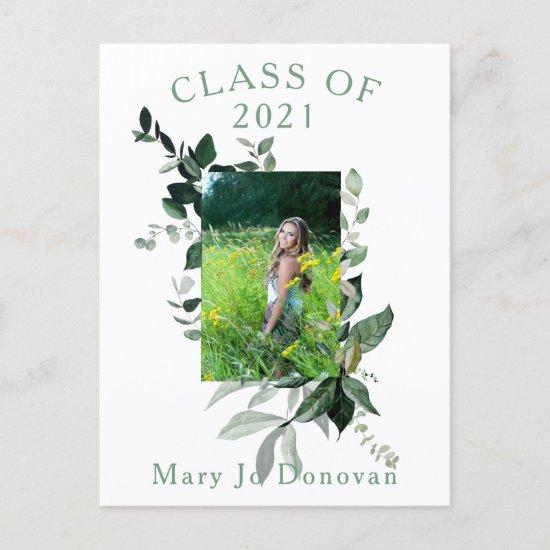 Watercolor Botanicals Frame Two Photo Graduation Announcement Postcard