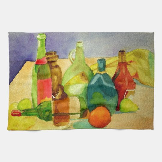 Watercolor Bottles Kitchen Towel