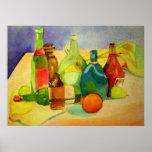 Watercolor Bottles Poster