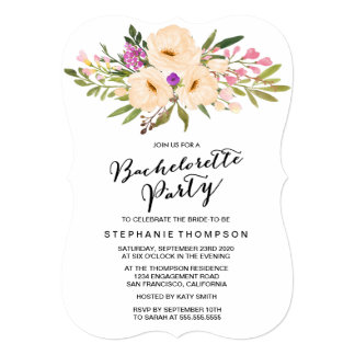 Watercolor Bouquet Anemones Bachelorette Party Card