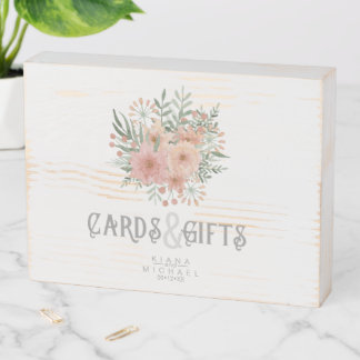 Watercolor Bouquet Cards & Gifts Blush ID654 Wooden Box Sign