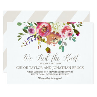 Watercolor Bouquet Elopement Announcement Cards