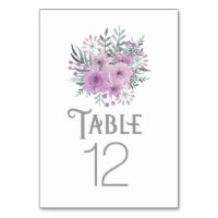 Watercolor Bouquet Lilac ID654 Table Number