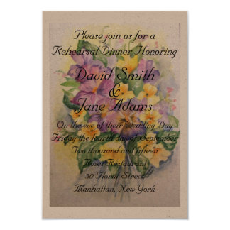 Watercolor bouquet of pansies-rehearsal dinner card