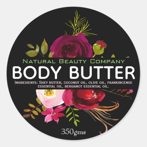 Watercolor Bouquet On Black Body Butter Labels