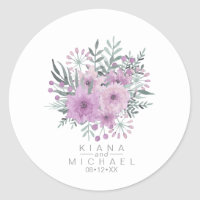 Watercolor Bouquet Wedding Lilac ID654 Classic Round Sticker