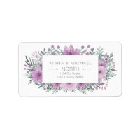 Watercolor Bouquet Wedding Lilac ID654 Label