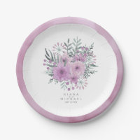 Watercolor Bouquet Wedding Lilac ID654 Paper Plate