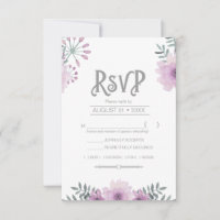 Watercolor Bouquet Wedding Lilac ID654 RSVP Card