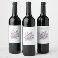 Watercolor Bouquet Wedding Lilac ID654 Wine Label