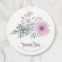 Watercolor Bouquet Wedding Thank You Lilac ID654 Favor Tags