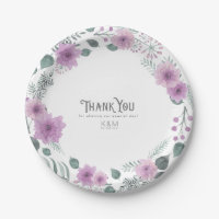 Watercolor Bouquet Wedding Thank You Lilac ID654 Paper Plate