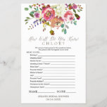 """Watercolor Bouquet &quot;What&#39;s In Your Purse&quot; Game<br><div class=""""desc"""">This watercolor bouquet &quot;what&#39;s in your purse&quot; game is perfect for a classic and elegant bridal shower. The front of the game card features &quot;how well do you know the bride&quot;, and the back of the card features &quot;what&#39;s in your purse&quot;. The design features an arrangement of pink, peach and...</div>"""