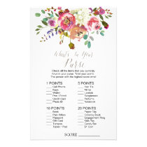 "Watercolor Bouquet ""What's In Your Purse"" Game Flyer"