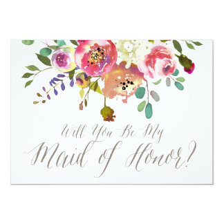 Watercolor Bouquet Will You Be My Maid of Honor Card