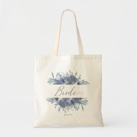 Watercolor Bouquet with Bride's Name Tote Bag